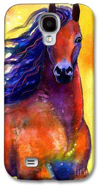 Watercolor Drawings Galaxy S4 Cases - Arabian horse 1 painting Galaxy S4 Case by Svetlana Novikova