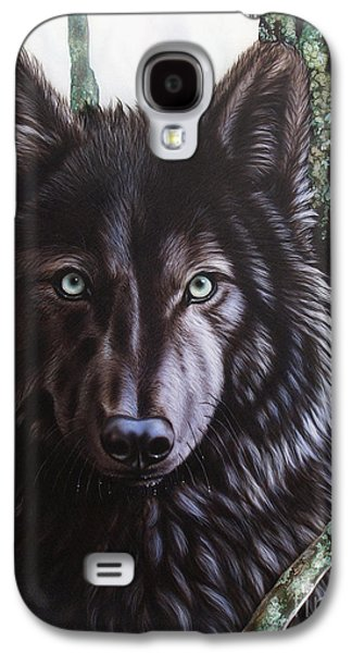 Airbrush Galaxy S4 Cases - Black Wolf Galaxy S4 Case by Sandi Baker