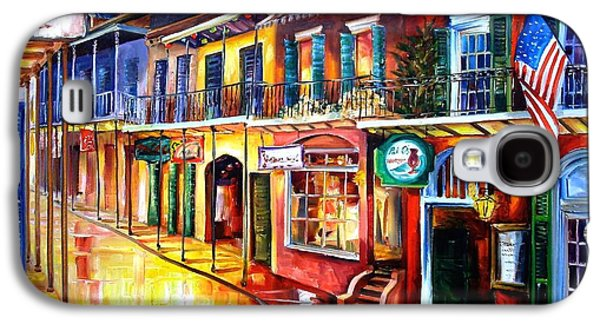 Street Paintings Galaxy S4 Cases - Bourbon Street Red Galaxy S4 Case by Diane Millsap