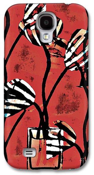 Avant Garde Mixed Media Galaxy S4 Cases - Candy Stripe Tulips 2 Galaxy S4 Case by Sarah Loft