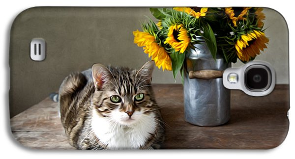 Domestic Digital Galaxy S4 Cases - Cat and Sunflowers Galaxy S4 Case by Nailia Schwarz
