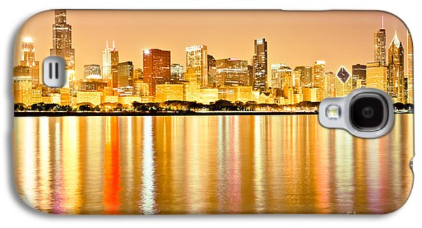 Stone Buildings Galaxy S4 Cases - Chicago Skyline at Night Photo Galaxy S4 Case by Paul Velgos