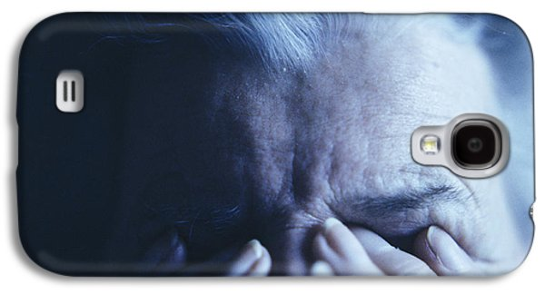 Psychiatry Galaxy S4 Cases - Depressed Elderly Woman Galaxy S4 Case by Cristina Pedrazzini