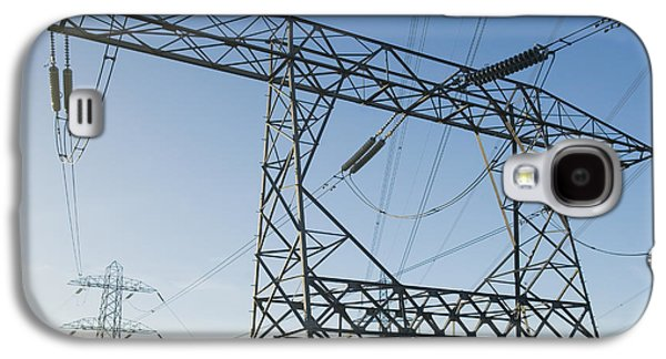 Electrical Equipment Photographs Galaxy S4 Cases - Electricity Pylons Against A Clear Blue Galaxy S4 Case by Iain  Sarjeant