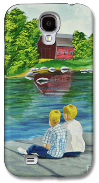 Old Barns Paintings Galaxy S4 Cases - Enjoying A Country Day Galaxy S4 Case by Charlotte Blanchard