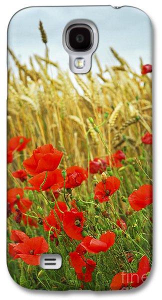 Crops Galaxy S4 Cases - Grain and poppy field Galaxy S4 Case by Elena Elisseeva