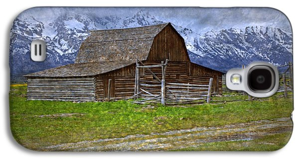 Pioneer Scene Galaxy S4 Cases - Grand Teton Iconic Mormon Barn Fence Spring Storm Clouds Galaxy S4 Case by John Stephens