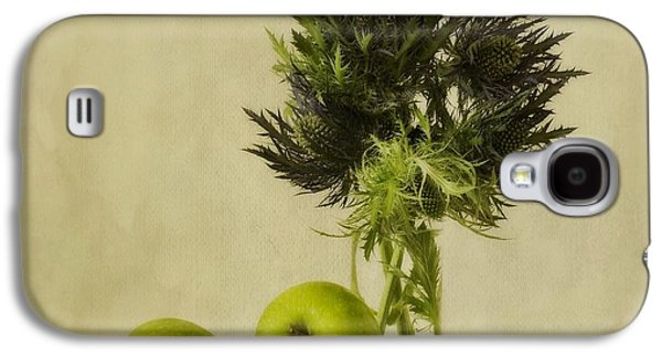 Floral Still Life Galaxy S4 Cases - Green Apples And Blue Thistles Galaxy S4 Case by Priska Wettstein