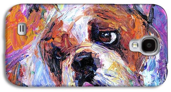 Puppy Drawings Galaxy S4 Cases - Impressionistic Bulldog painting  Galaxy S4 Case by Svetlana Novikova