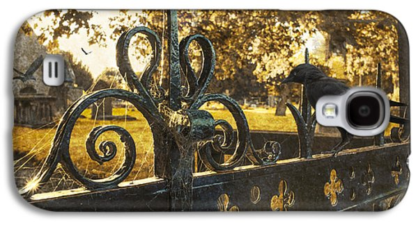 Headstones Galaxy S4 Cases - Jackdaw On Church Gates Galaxy S4 Case by Amanda And Christopher Elwell