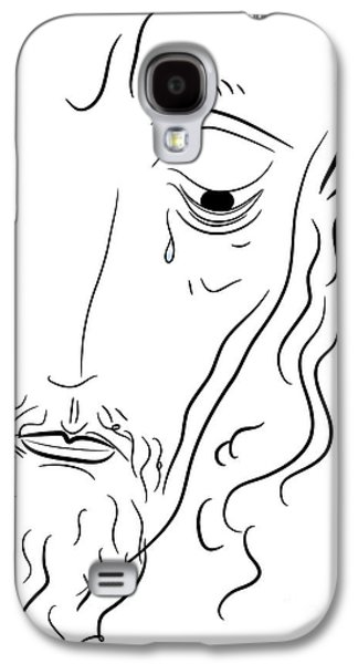 Tear Drawings Galaxy S4 Cases - Jesus Christ Galaxy S4 Case by Michal Boubin
