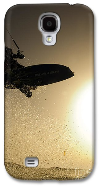Kiteboarding Galaxy S4 Cases - Kitesurfing at sunset Galaxy S4 Case by Hagai Nativ