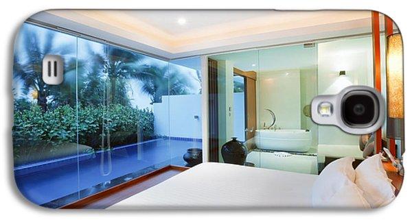 Shower Curtain Galaxy S4 Cases - Luxury Bedroom Galaxy S4 Case by Setsiri Silapasuwanchai