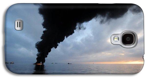 Oil Slick Galaxy S4 Cases - Oil Spill Burning, Usa Galaxy S4 Case by U.s. Coast Guard