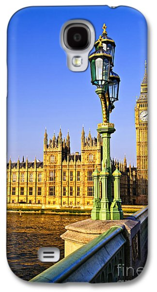 Streetlight Photographs Galaxy S4 Cases - Palace of Westminster from bridge Galaxy S4 Case by Elena Elisseeva