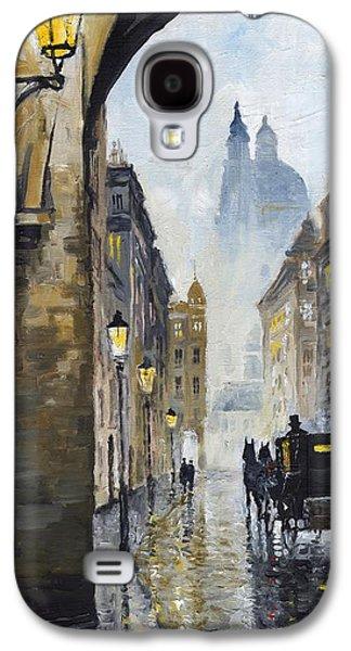 Rain Paintings Galaxy S4 Cases - Prague Old Street 01 Galaxy S4 Case by Yuriy  Shevchuk