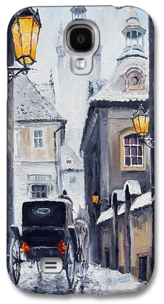 Snow Paintings Galaxy S4 Cases - Prague Old Street 02 Galaxy S4 Case by Yuriy  Shevchuk