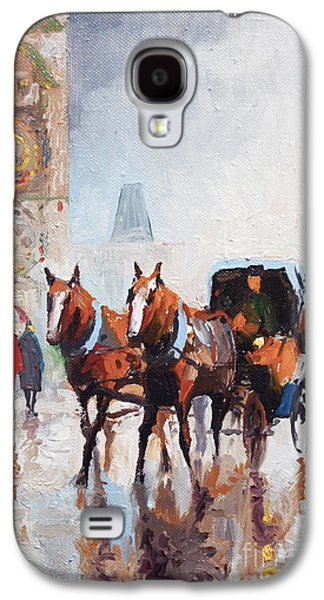 Rain Paintings Galaxy S4 Cases - Prague Old Town Square Galaxy S4 Case by Yuriy  Shevchuk