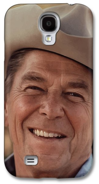 America Paintings Galaxy S4 Cases - President Ronald Reagan Galaxy S4 Case by War Is Hell Store