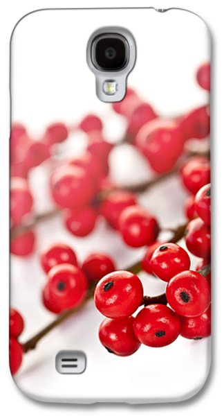 Berries Galaxy S4 Cases - Red Christmas berries Galaxy S4 Case by Elena Elisseeva