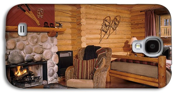 Log Cabin Interiors Galaxy S4 Cases - Resort Log Cabin Interior Galaxy S4 Case by Robert Pisano