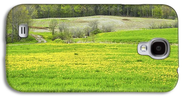 Maine Meadow Galaxy S4 Cases - Spring Farm Landscape With Dandelion Bloom in Maine Galaxy S4 Case by Keith Webber Jr