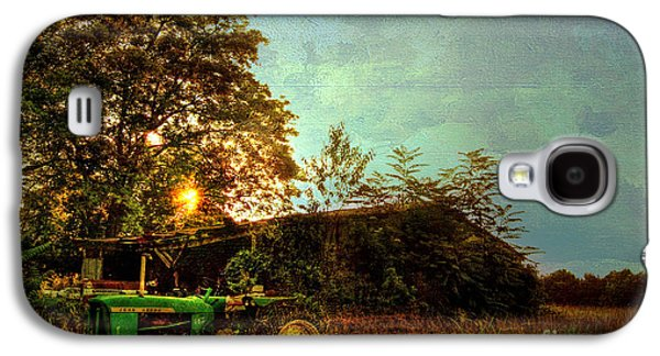 Shed Photographs Galaxy S4 Cases - Sunset on Tractor Galaxy S4 Case by Benanne Stiens