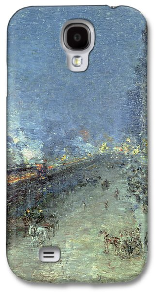 Night Lamp Paintings Galaxy S4 Cases - The El Galaxy S4 Case by Childe Hassam