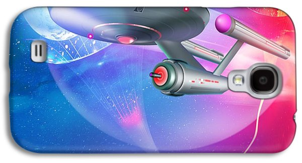 Enterprise Galaxy S4 Cases - Time Travelling Spacecraft, Artwork Galaxy S4 Case by Detlev Van Ravenswaay