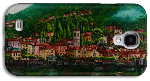 Lake Como Paintings Galaxy S4 Cases - Village View on Lake Como  Galaxy S4 Case by Charlotte Blanchard