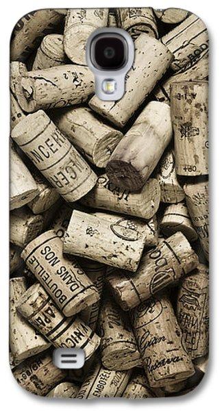 Monotone Galaxy S4 Cases - Vintage Wine Corks Galaxy S4 Case by Frank Tschakert