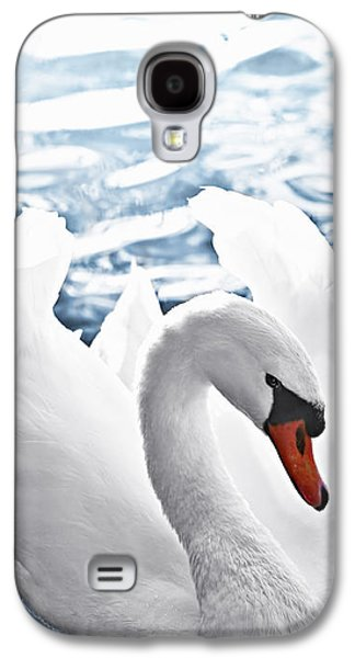 Swans... Galaxy S4 Cases - White swan on water Galaxy S4 Case by Elena Elisseeva