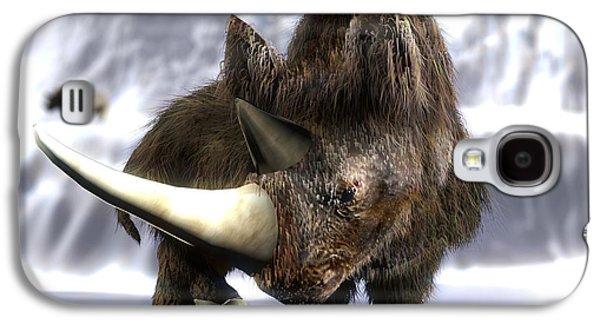 One Horned Rhino Galaxy S4 Cases - Woolly Rhinoceros Galaxy S4 Case by Christian Darkin