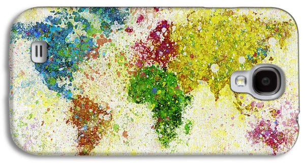 Blue Pastels Galaxy S4 Cases - World Map Painting Galaxy S4 Case by Setsiri Silapasuwanchai