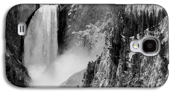 Yellowstone Waterfalls In Black And White Galaxy S4 Case by Sebastian Musial