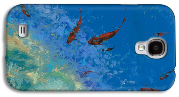 Blue And Red Paintings Galaxy S4 Cases - 13 Pesciolini Rossi Galaxy S4 Case by Guido Borelli