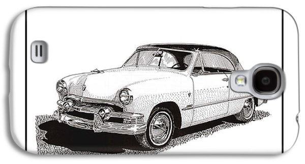 Pen And Ink Framed Prints Galaxy S4 Cases - 1951 Ford Victoria Hardtop Galaxy S4 Case by Jack Pumphrey