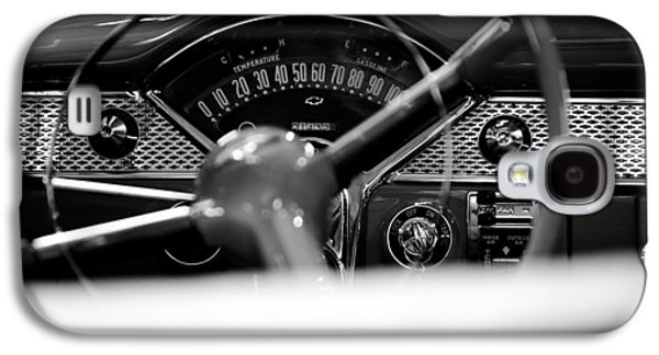 Classic Cars Photographs Galaxy S4 Cases - 1955 Chevy Bel Air Dashboard in Black and White Galaxy S4 Case by Sebastian Musial