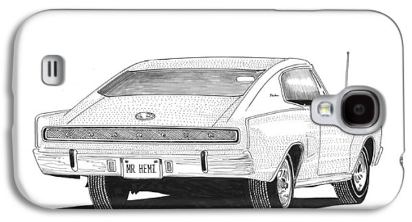Pen And Ink Framed Prints Galaxy S4 Cases - 1966 Dodge Charger Galaxy S4 Case by Jack Pumphrey