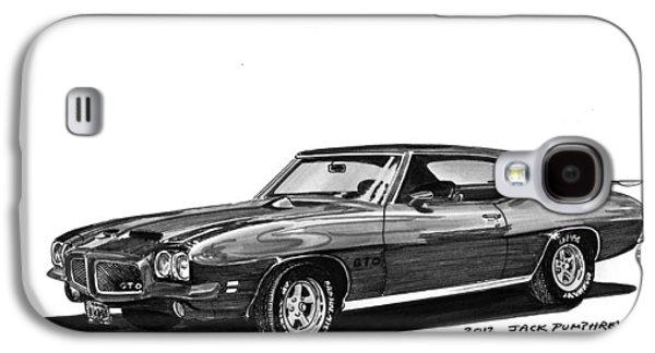 80s Drawings Galaxy S4 Cases - 1971 Pontiac GTO Galaxy S4 Case by Jack Pumphrey