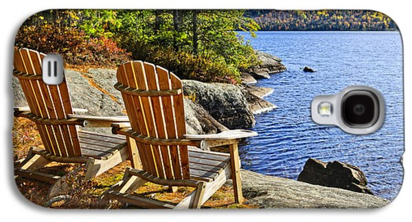 Chair Galaxy S4 Cases - Adirondack chairs at lake shore Galaxy S4 Case by Elena Elisseeva