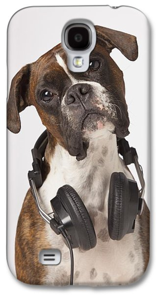 Boxer Galaxy S4 Cases - Boxer Dog With Headphones Galaxy S4 Case by LJM Photo