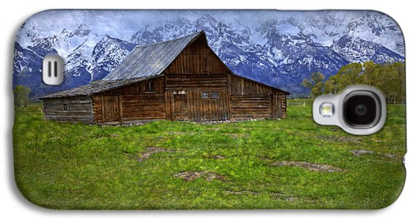 Pioneer Scene Galaxy S4 Cases - Grand Teton Iconic Mormon Barn Spring Storm Clouds Galaxy S4 Case by John Stephens