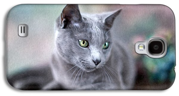 Furry Galaxy S4 Cases - Russian Blue Galaxy S4 Case by Nailia Schwarz
