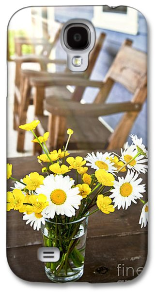 Chair Galaxy S4 Cases - Wildflowers bouquet at cottage Galaxy S4 Case by Elena Elisseeva