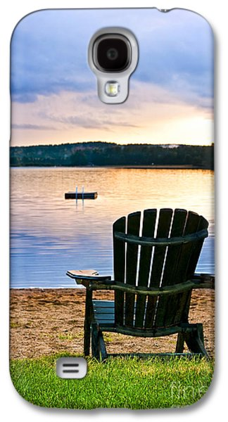 Beach Landscape Galaxy S4 Cases - Wooden chair at sunset on beach Galaxy S4 Case by Elena Elisseeva
