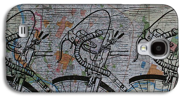 Linocut Drawings Galaxy S4 Cases - Bike 2 on map Galaxy S4 Case by William Cauthern