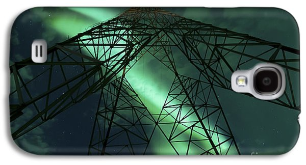 Electrical Component Photographs Galaxy S4 Cases - Powerlines And Aurora Borealis Galaxy S4 Case by Arild Heitmann