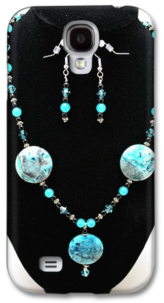Round Jewelry Galaxy S4 Cases - 3508 Crazy Lace Agate Necklace and Earrings Galaxy S4 Case by Teresa Mucha