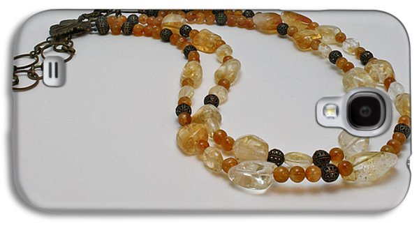 Round Jewelry Galaxy S4 Cases - 3514 Citrine Double Strand Necklace Galaxy S4 Case by Teresa Mucha